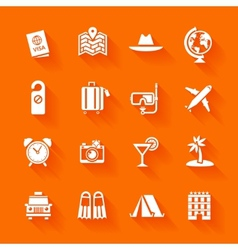 Set of white travel icons vector image