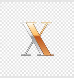 silver and gold font symbol alphabet letter x vector image