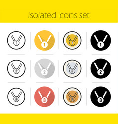 sport medals icons set vector image