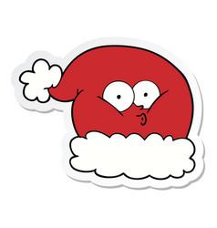 sticker of a cartoon christmas santa hat vector image