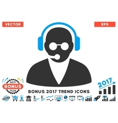 Support Operator Flat Icon With 2017 Bonus Trend vector