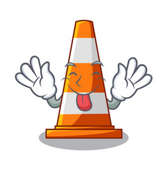 tongue out on traffic cone against mascot argaet vector image