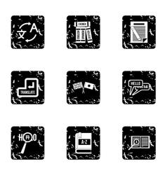 Translation icons set grunge style vector