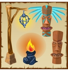 Two totems fire and lantern ancient symbols vector