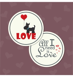 Valentine dog with heart vector