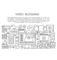 video blogger thin line concept computer screen vector image