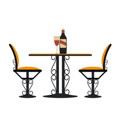 vintage table and chairs with wine vector image