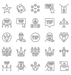 vip outline icons set very important vector image