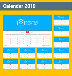 wall calendar for 2019 year design print template vector image