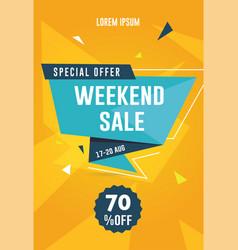 weekend sale flyer vector image