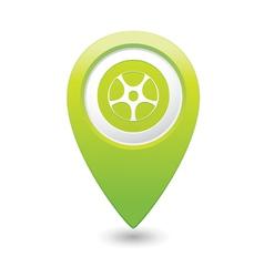 Wheel icon green map pointer vector