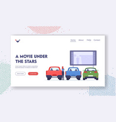 Woman visit car cinema landing page template vector
