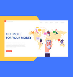 worldwide email communication concept landing page vector image