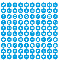 100 favorite food icons set blue vector image vector image