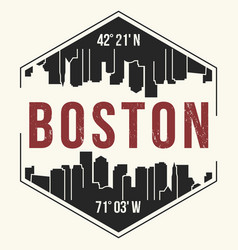 boston city graphic t-shirt design tee print vector image vector image
