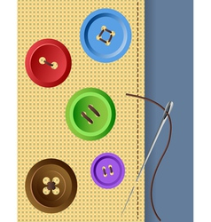 Clothes buttons with needle and fabric vector image