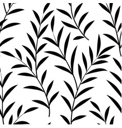 floral leaves seamless pattern branch silhouette vector image vector image