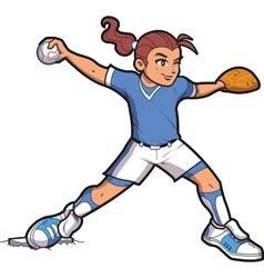 Girl Softball Pitcher vector image vector image
