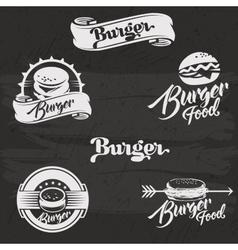 Burgers logo set in vintage style retro hand vector