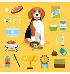 Dog life icons vector image