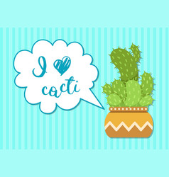 green cactus with speech bubble vector image vector image