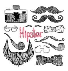 Hipster hair style accessories icons set vector image vector image