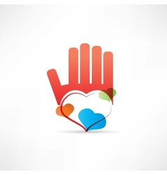 red hand and heart icon vector image