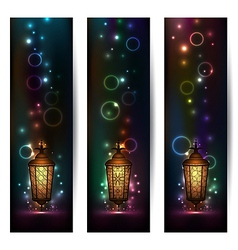 Set light banners with arabic lantern vector image