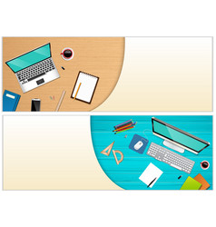 workplace office with a laptop and office vector image