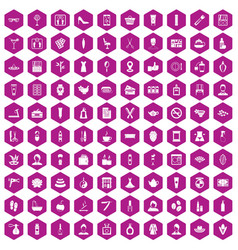 100 beauty salon icons hexagon violet vector image vector image