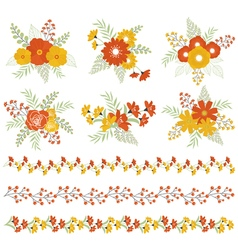 Autumn bouquets and borders vector