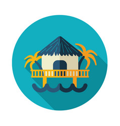 bungalow with palm trees icon summer vacation vector image vector image