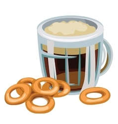 Mug of beer with bagel on white background vector image
