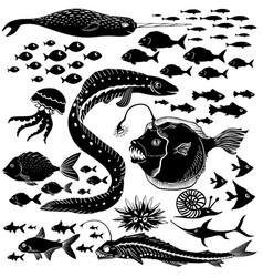set of handdrawn underwater wildlife vector image