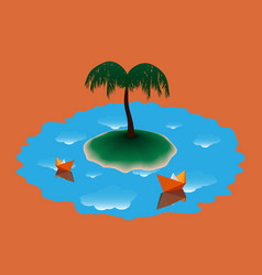 two paper boat near the island with palm tree vector image vector image
