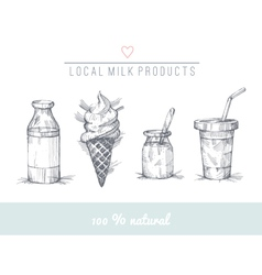 Dairy set vector image