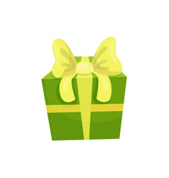 green gift box with big yellow bow present for vector image