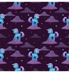 Pattern with little cartoon blue unicorn vector image