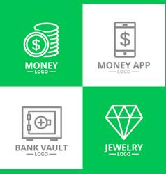 set of money and bank cash diamond coin logo or vector image