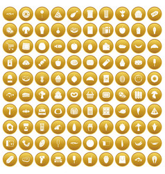 100 food shopping icons set gold vector