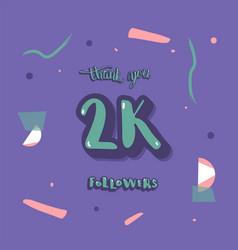 2k followers thank you template vector