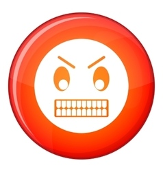 Angry emoticon flat style vector