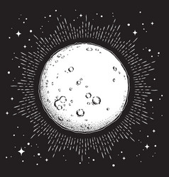 Antique style line art and dot work full moon vector