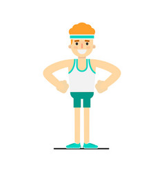 Athletic boy in sportswear doing fitness exercise vector