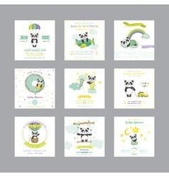 Baby shower card arrival card panda vector