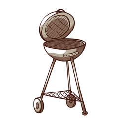 barbecue grill icon summer meat food cooking vector image