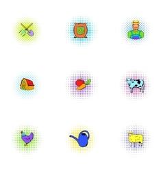 Barnyard icons set pop-art style vector