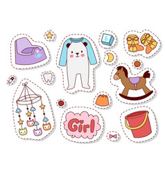 Batoys patches cartoon family kid toyshop vector