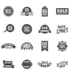 Black friday label icons set gray monochrome style vector