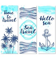 Blue vertical marine banners vector image